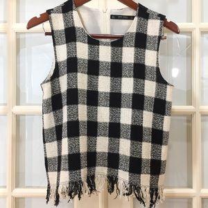 Zara Basic Fringed Checkered Plaid Top Size Large